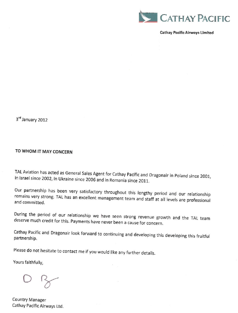 Cathay Pacific Airline Code  Letter
